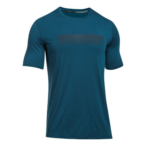 Mens Under Armour Run Graphic Short Sleeve Technical Tops - True Ink/Black XL