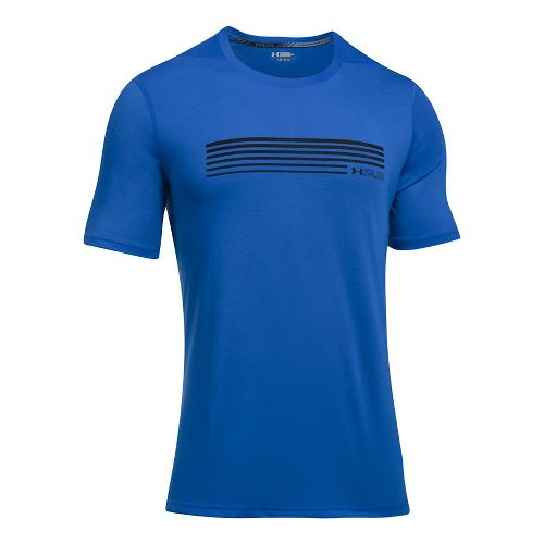 Mens Under Armour Run Graphic Short Sleeve Technical Tops - Lapis Blue/Black L
