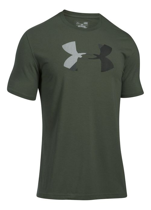 Mens Under Armour Glitch Logo Short Sleeve Technical Tops - Downtown Green M