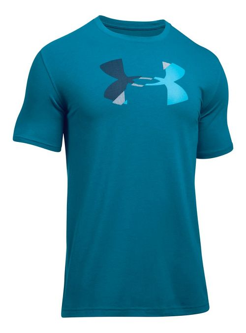 Mens Under Armour Glitch Logo Short Sleeve Technical Tops - Bayou Blue M