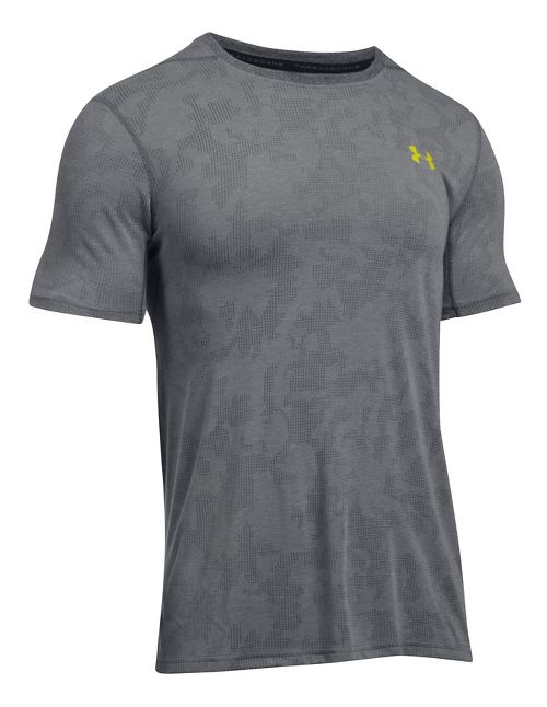 Mens Under Armour Threadborne Elite Fitted Short Sleeve Technical Tops - Graphite M