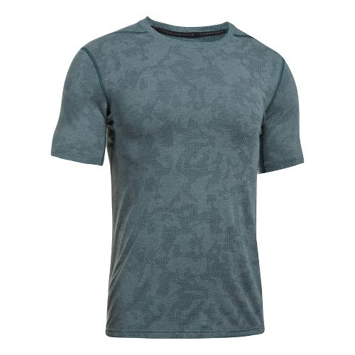 Mens Under Armour Threadborne Elite Fitted Short Sleeve Technical Tops - Arden Green L