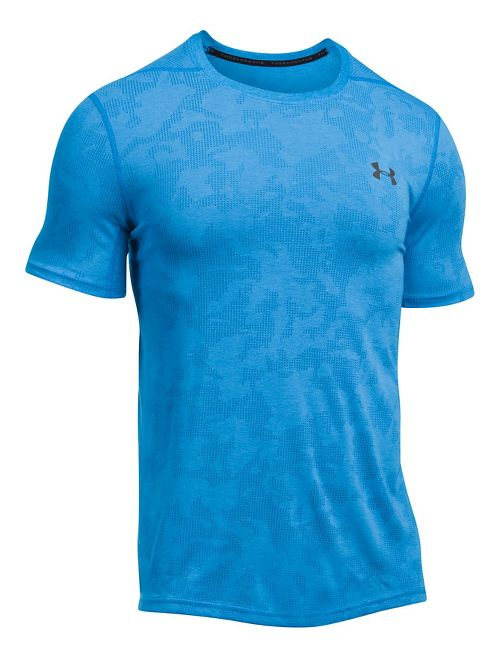 Mens Under Armour Threadborne Elite Fitted Short Sleeve Technical Tops - Mako Blue L