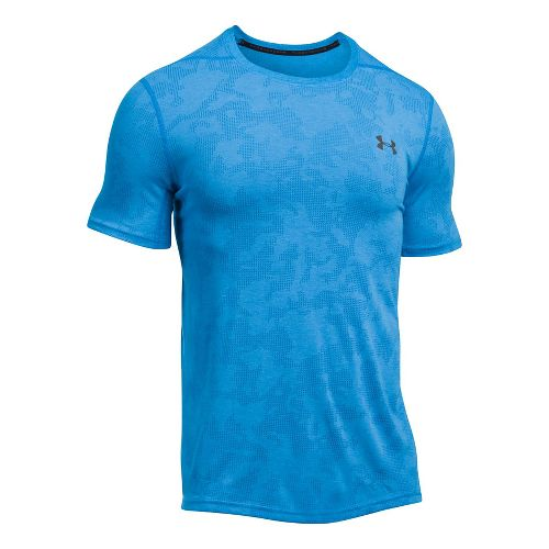 Mens Under Armour Threadborne Elite Fitted Short Sleeve Technical Tops - Mako Blue XXL