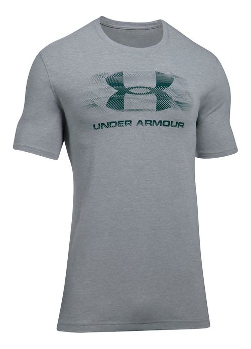 Mens Under Armour Tread On Sportstyle Short Sleeve Technical Tops - Steel Light Heather S