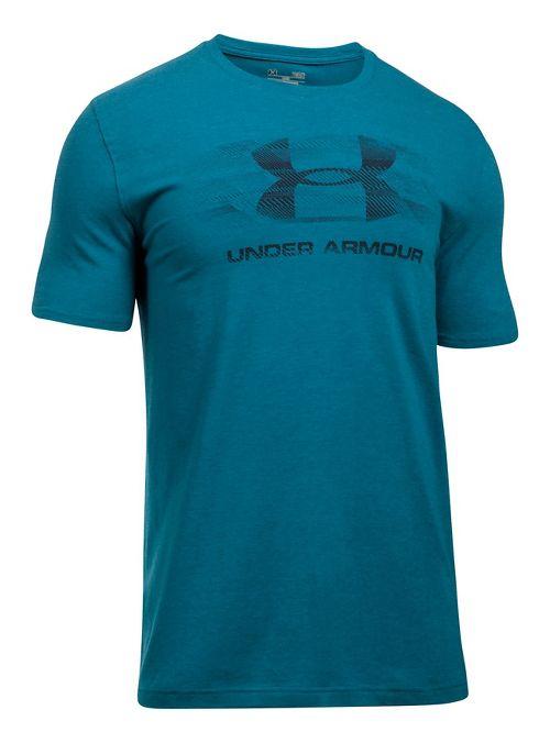 Mens Under Armour Tread On Sportstyle Short Sleeve Technical Tops - Bayou Blue XL