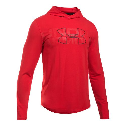 Mens Under Armour Sportstyle Stretch Half-Zips & Hoodies Technical Tops - Red 3XL