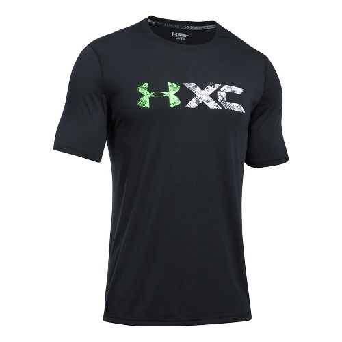 Mens Under Armour XCB Short Sleeve Technical Tops - Black/Lime S