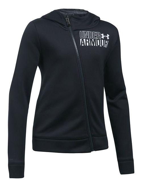 Under Armour Girls Fleece Full Zip Half-Zips & Hoodies Technical Tops - Black YM