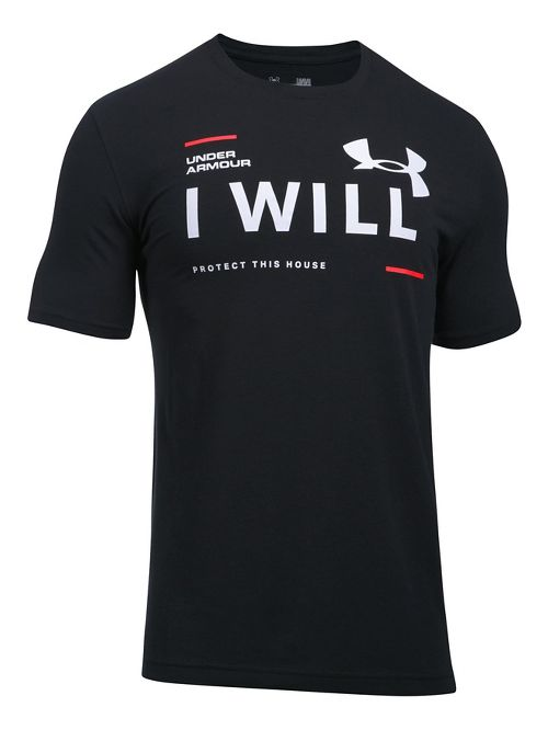 Mens Under Armour I Will Short Sleeve Technical Tops - Black XXL