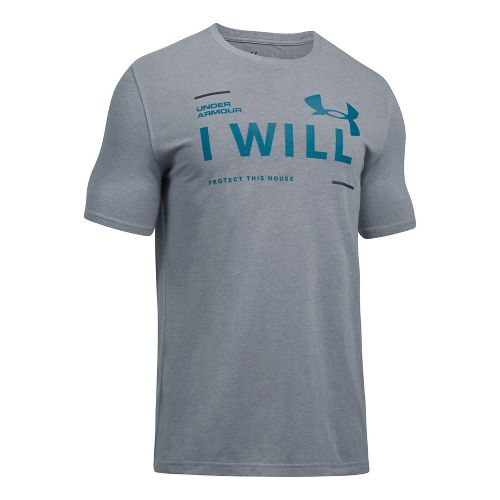 Mens Under Armour I Will Short Sleeve Technical Tops - Steel Light Heather M