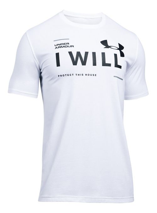 Mens Under Armour I Will Short Sleeve Technical Tops - White XXL