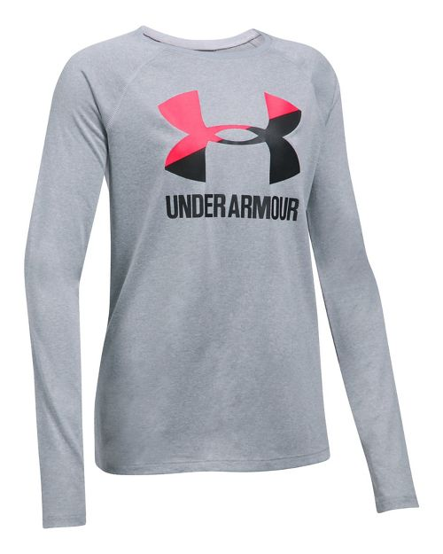 Under Armour Girls Big Logo Slash Long Sleeve Technical Tops - Heather/Penta Pink YM