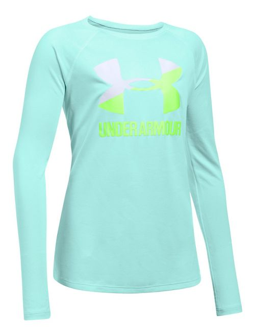 Under Armour Girls Big Logo Slash Long Sleeve Technical Tops - Blue/White YL