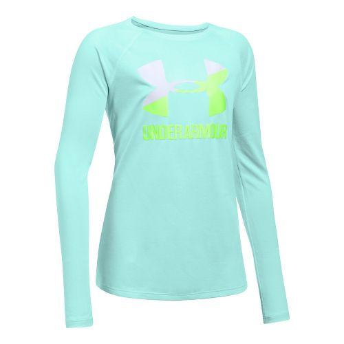 Under Armour Girls Big Logo Slash Long Sleeve Technical Tops - Blue/White YM