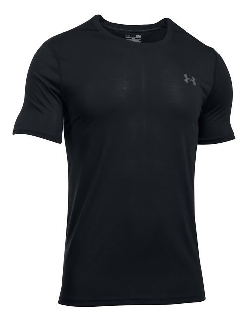 Mens Under Armour Threadborne Fitted Short Sleeve Technical Tops - Black XL