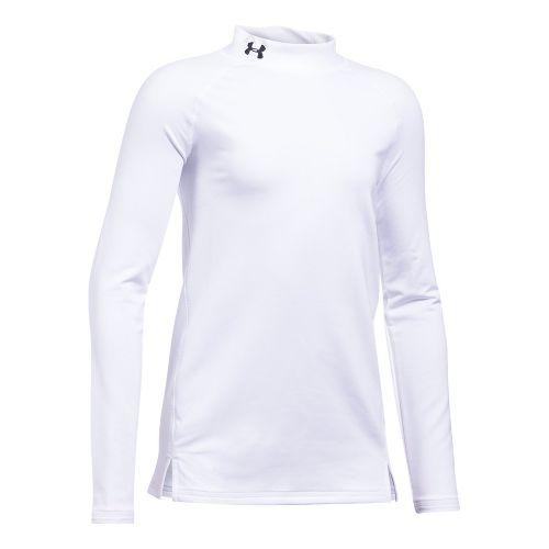 Under Armour Girls ColdGear Mock Long Sleeve Technical Tops - White YS