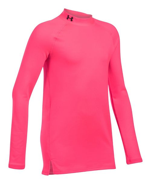 Under Armour Girls ColdGear Mock Long Sleeve Technical Tops - Penta Pink YXS
