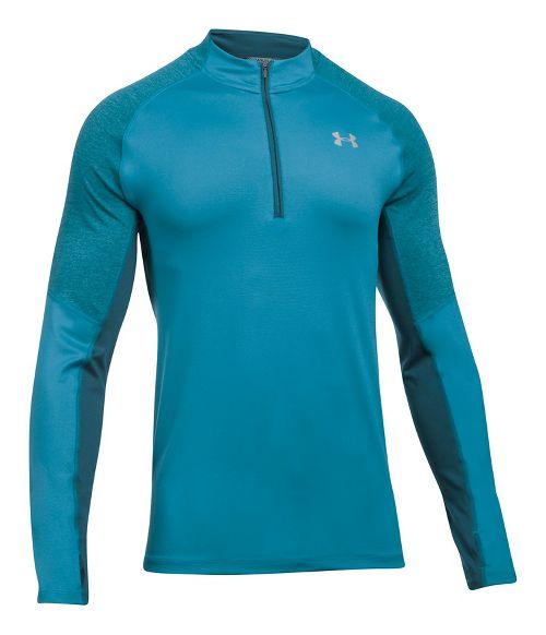 Mens Under Armour Threadborne Run 1/4 Zip Half-Zips & Hoodies Technical Tops - Bayou Blue XL