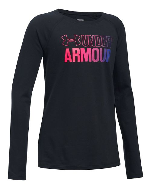 Under Armour Girls Combo Logo Tee Long Sleeve Technical Tops - Black/Blue YS