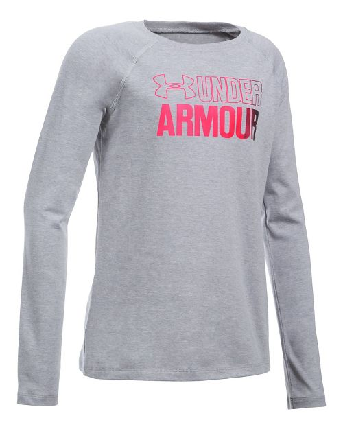 Under Armour Girls Combo Logo Tee Long Sleeve Technical Tops - Heather/Black YS
