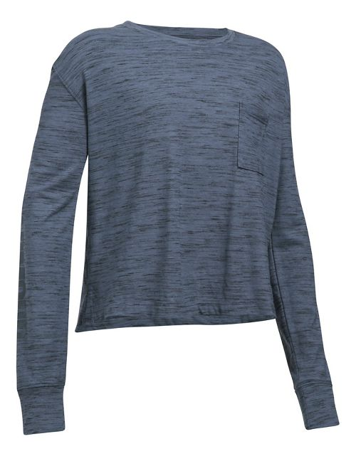 Under Armour Girls Elevated TRN Knit Layer Long Sleeve Technical Tops - Apollo Grey YL