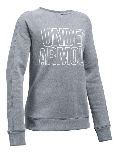 Under Armour Favorite Fleece Crew Long Sleeve Technical Tops - Steel Heather YXL