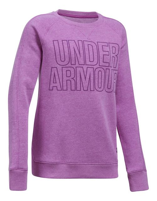Under Armour Girls Favorite Fleece Crew Long Sleeve Technical Tops - Purple Rave YL