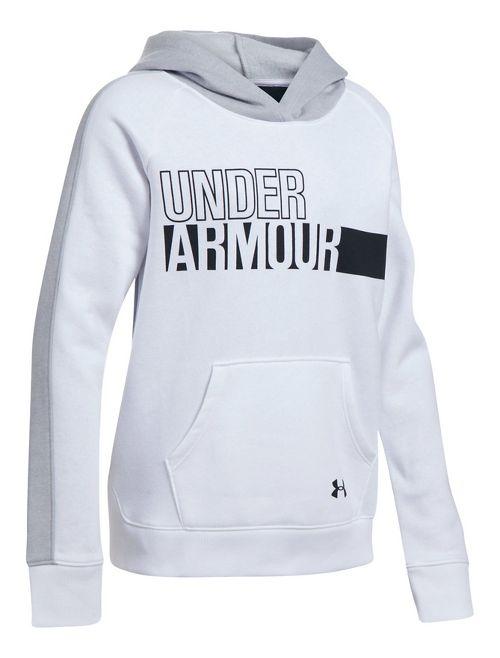 Under Armour Girls Favorite Fleece Half-Zips & Hoodies Technical Tops - White/Grey YS