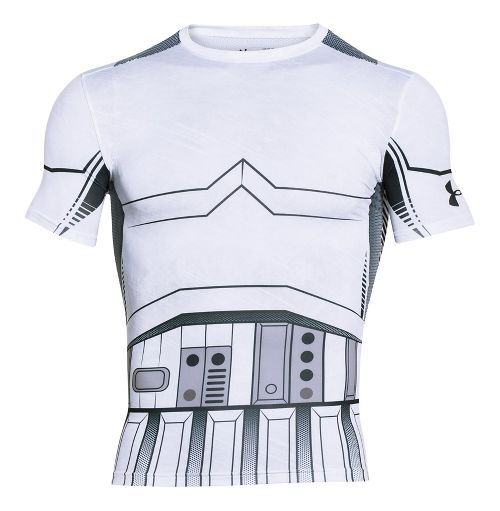 Mens Under Armour Trooper Full Suit Compression Short Sleeve Technical Tops - White S