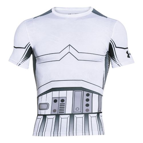 Mens Under Armour Trooper Full Suit Compression Short Sleeve Technical Tops - White 3XL