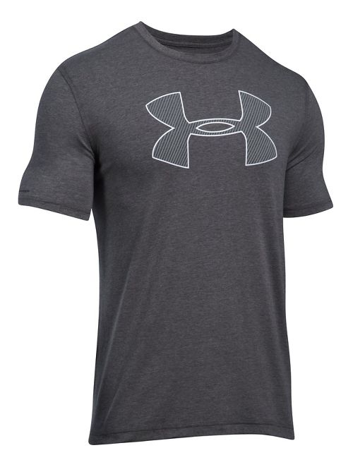 Mens Under Armour Big Logo Short Sleeve Technical Tops - Carbon Heather/White L