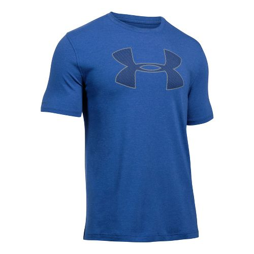 Mens Under Armour Big Logo Short Sleeve Technical Tops - Red Heather/Grey XXL