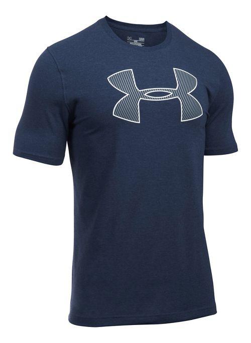 Mens Under Armour Big Logo Short Sleeve Technical Tops - Navy Heather/White XXL