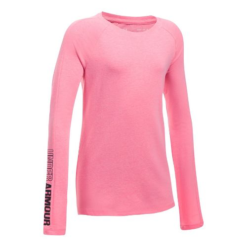 Under Armour Girls Favorite Knit Long Sleeve Technical Tops - Penta Pink YM