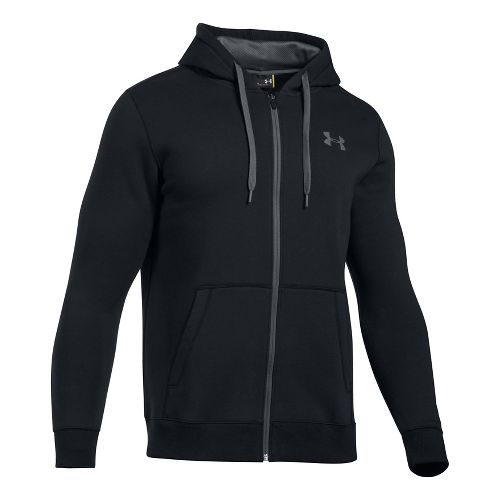 Mens Under Armour Rival Fitted Full-Zip Long Sleeve Technical Tops - Black XXL