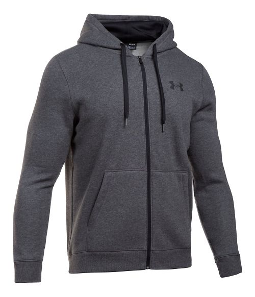 Mens Under Armour Rival Fitted Full-Zip Long Sleeve Technical Tops - Carbon Heather 4XL