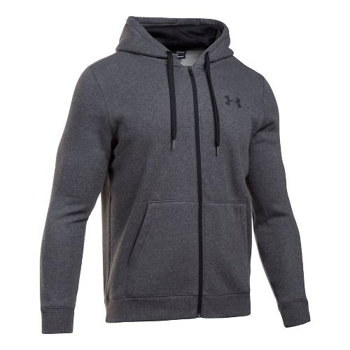 Mens Under Armour Rival Fitted Full-Zip Long Sleeve Technical Tops - Carbon Heather XXL