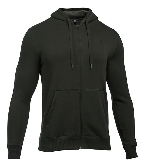 Mens Under Armour Rival Fitted Full-Zip Long Sleeve Technical Tops - Artillery Green L