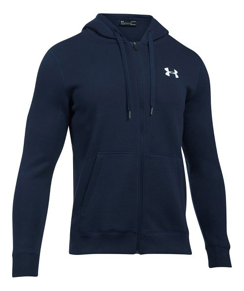 Mens Under Armour Rival Fitted Full-Zip Long Sleeve Technical Tops - Midnight Navy XXL