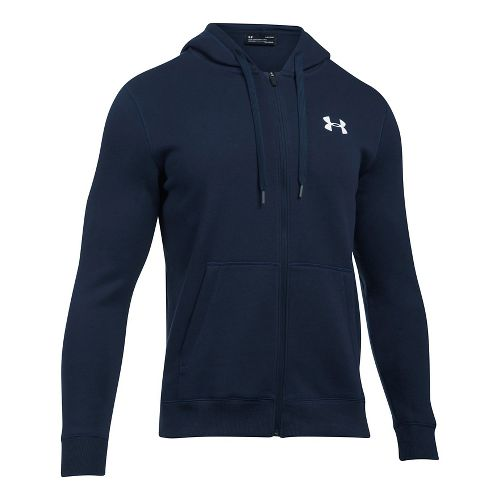 Mens Under Armour Rival Fitted Full-Zip Long Sleeve Technical Tops - Midnight Navy L