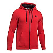 Mens Under Armour Rival Fitted Full-Zip Long Sleeve Technical Tops - Red XL