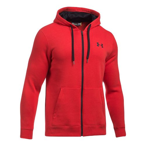Mens Under Armour Rival Fitted Full-Zip Long Sleeve Technical Tops - Red XXL