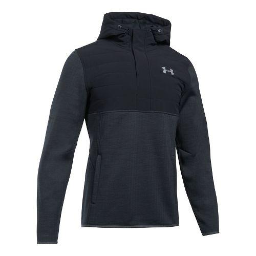 Mens Under Armour Swacket Henley Half-Zips & Hoodies Technical Tops - Black S