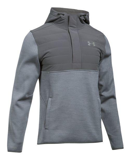 Mens Under Armour Swacket Henley Half-Zips & Hoodies Technical Tops - Steel/Graphite L
