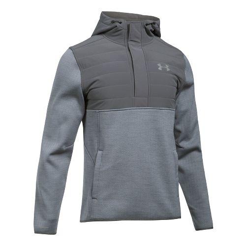 Mens Under Armour Swacket Henley Half-Zips & Hoodies Technical Tops - Steel/Graphite XL-T
