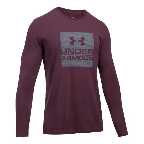 Mens Under Armour Boxed In Long Sleeve Technical Tops - Raisin Red L
