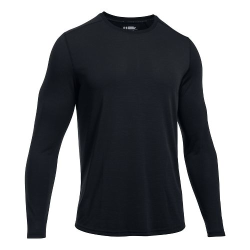 Mens Under Armour Threadborne Knit Long Sleeve Technical Tops - Black L