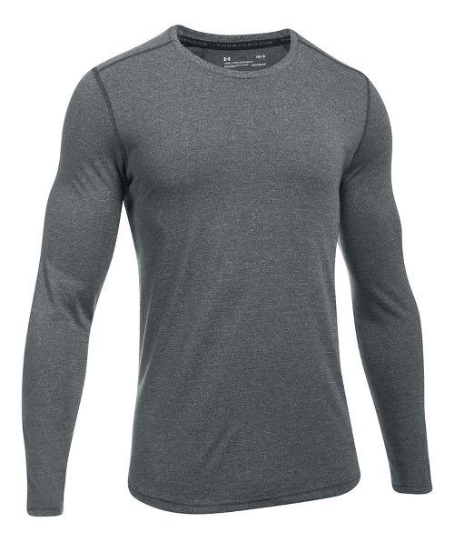 Mens Under Armour Threadborne Knit Long Sleeve Technical Tops - Anthracite XL
