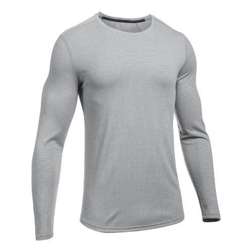 Mens Under Armour Threadborne Knit Long Sleeve Technical Tops - True Grey Heather XL
